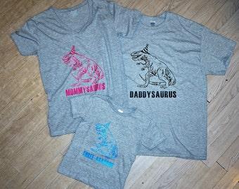 Daddysaurus. Mommysaurus. Three-asaurus. Dinosaur shirts. Birthday Shirts. Dinosaur birthday shirts. Daddysaurus shirt. Mommysaurus shirt.