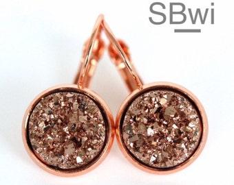 Druzy rose gold earrings