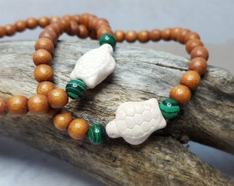 Yoga Bracelet For Female Activist ~ Turtle Bracelet ~ Gift For Surfer Girl ~ Beach Jewelry Ideas ~ College Student Gift ~ Malachite Bracelet