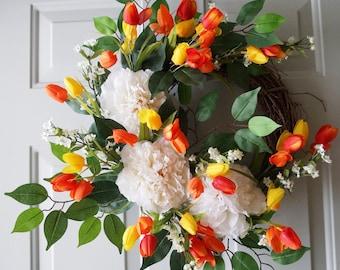 New Spring Wreath, Peonies Tulips Wreath, Door Wreath ready to ship