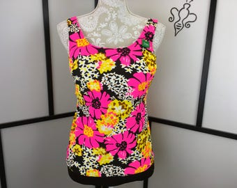 Funky Floral Swim Top, Women's Vintage Swimsuit, 1970s Swim Wear, Bold Print, Medium