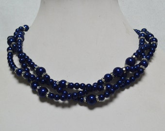 navy blue necklace,3-rows glass pearl necklaces,wedding necklace,bridesmaids necklace, navy color necklace,women necklace