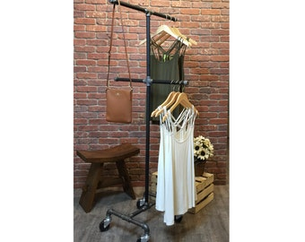 Clothing Rack | Rolling Clothes Rack | Garment Rack | Clothing Organization Rack | Industrial Pipe Rolling Clothes Rack | FAST FREE SHIPPING