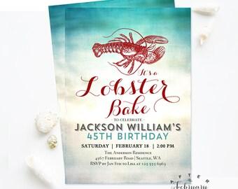 ANY AGE Lobster Bake Invitation Adult Birthday Party Invitation Clam Bake Invite Seafood Party invite Digital Printable No.107BDAY