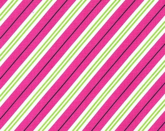 Pink Candy Cane stripe fabric from All the Trimmings collection of Michael Miller fabrics,Pink and lime candy cane stripe fabric by the yard