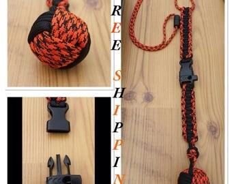 Orange & Black Monkey Fist Lanyard