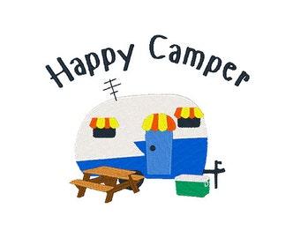 Happy Camper Embroidery Design Camping Embroidery Designs Camper Trailer Design Filled Stitch 4X4 5X7 6X10 8X8 Instant Download