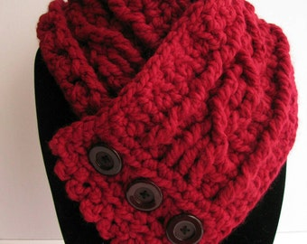 Fisherman's Wife Cowl in cranberry, ladies' scarf, women's cowl