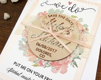 save the date magnet floral save the date wood save the dates wedding - Magnet Wedding Invitations