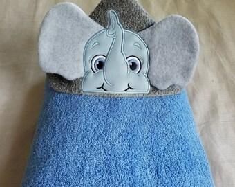 Elephant Boy Kids Hooded Towel,Hooded Bath Towel,Personalized Towel,Embroidered Kids Bath Towel,Hooded Kids Towel,Elephant Boy Hooded Towel