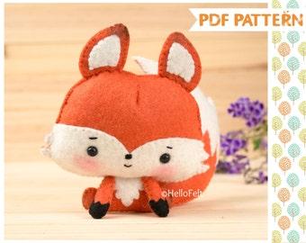 PDF Pattern, Woodland Series: Fox, Felt Animal Pattern, Felt plush.