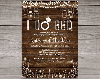 BBQ Engagement Party Invitations - Rustic Engagement invitations - Backyard BBQ Engagement Invitations - Engagement 101