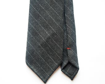 Charcoal pinstripe wool hand rolled untipped tie