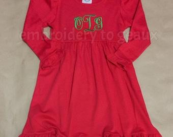 Monogrammed Girl's Ruffle Dress, Girls Christmas Dress, Girls Holiday Dress, Toddler Girls Holiday Dress