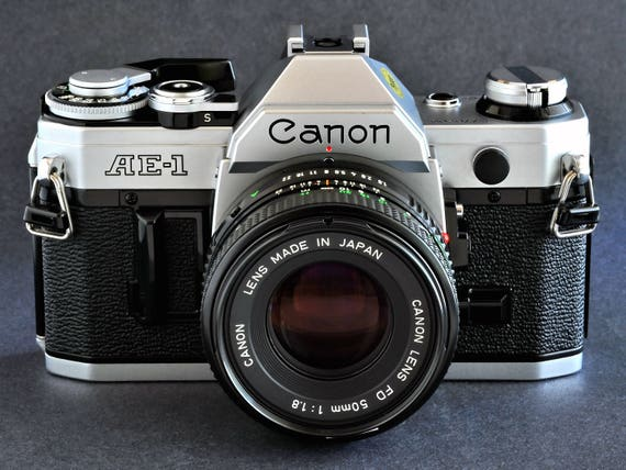 Canon AE-1 w FD 50mm f/1.8N Standard Prime Lens 35mm SLR Camera Good for Students NiCE !