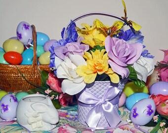 Easter Centerpiece Floral Arrangement, Easter Decor, Purple