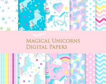 Magical Unicorns / Blue Unicorns / Einhorn / Unicorn Digital Paper Pack - Instant Download - DP143