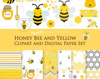 30% off Honey Bee and Yellow Clip Art + Digital Paper Set / Bee Clipart / Bee Digital Paper - Instant Download