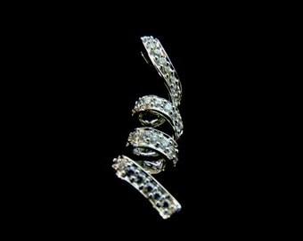 Womens Sterling Silver Pendant w/ Diamond Cut CZ Crystals 1.4g #E2683