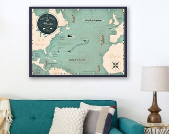 GIG map, Atlantic map, world map, sea map.