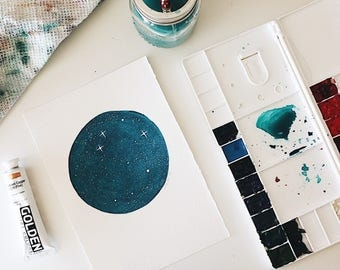 Original Moon Painting | 7.25x10 inches