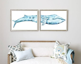 """Blue whale diptych """"Bookelia"""", watercolor painting archival print."""