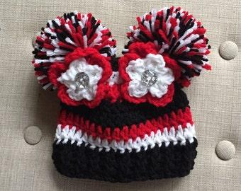 Crochet Football hat, Luv Beanies, Atlanta Falcons Beanie, Atlanta Falcons Hats, Football Beanie, Baby Football Hat, Football hats for girls