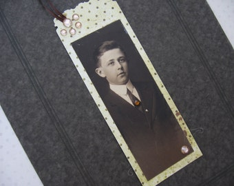 Hand Crafted Bookmark from Original 19th Century Bookmark-Cut Studio Portrait Photo of Young Man, Embellished, Made by Me