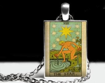 The Star Tarot Card, Alchemy, Magick, Tarot deck, magic pendant, occult amulet, mystic jewelry, Sun necklace #396.17