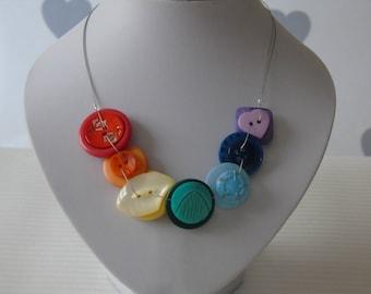 Rainbow Button Necklace - Rainbow Jewellery - Button Rainbow