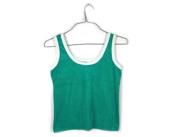 Teal and White 1970s Terry Cloth Tank Top
