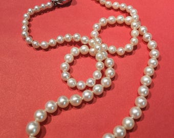 "Vintage 18"" 14k White Gold Graduated Cultured Pearl Necklace Knotted"