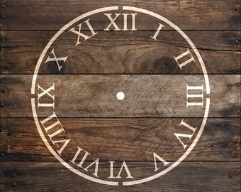 Roman Numerals Clock Stencil in reusable Mylar  small to large stencil