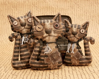 Primitive Cat Doll Unusual Gift Cat Lover Folk Art Cheerful Broad Extreme Primitive