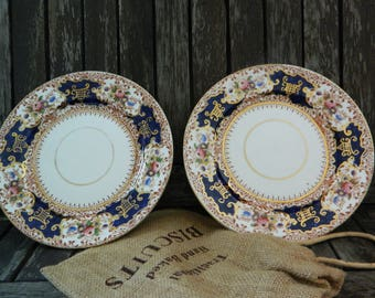Doric China 'Don' Tea/Side/Bread Plates Handpainted/Cobalt Blue/Florals and Swirls/22KT Gold Gilt x 2
