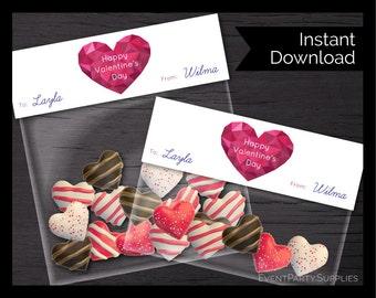 Valentine Heart Baggie Topper, Valentine's Treat Bag, Instant Download, Editable
