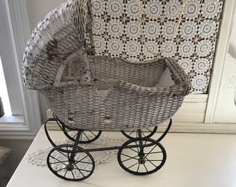Antique Chippy White Baby Doll Wicker Carriage Stroller