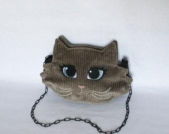 "Cat Head Pochatte ""My kitten"" handbag glazed brown corduroy embroidered catface eyes light blue double satin black metal chain"