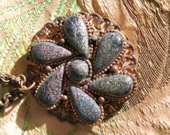 1960s Unique Copper and Art Glass Pendant and Chain Retro