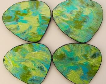 NEW! Free Form Handmade Coasters - Hand Painted In Greens - Original Mini Art - OOAK - Set Of 4