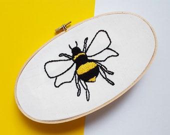 Bumble Bee Embroidery Hoop - Framed Wall Art, Gift, Present, Nature, Quirky Art, Fiber Art