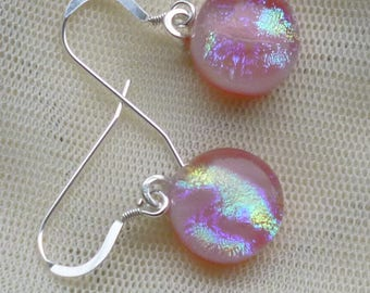Pink Dichroic Dangle Earrings. Pink Fused Glass Earrings. Glass Dangle Earrings.  Pink Drop Earrings