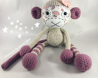 Lilac Handmade Crochet Monkey,Amigurumi plushie toy, baby shower gift, soft toy, nursery decoration, Amigurumi Monkey