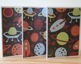 12 Space Card Set. Rocket Ship Cards. Planet Note Cards. Space Thank You Cards.  Space Party Invitations. Outer Space Cards.  Blank Cards