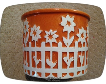 Flowerpot CERAMICS PLANTER Sunflowers Picket Fence 70's Royal Haeger USA 5062 Seventies Vintage Retro Loco kitchen patio flowers pot cottage
