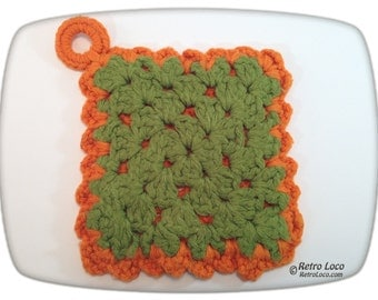 Hot Pad 70's Knitted Orange Avocado Green Vintage seventies groovy retro kitchen decor decoration Reversible pot holder trivet 1970s yarn