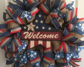 Primitive Welcome Mesh Wreath- Red White and Blue Patriotic Wreath