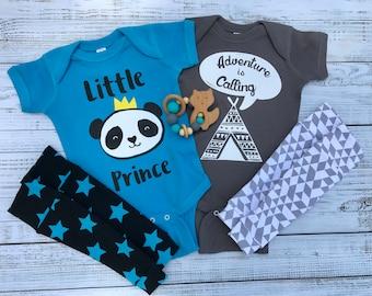 Baby Boy Panda Prince Wild Adventure Fox Teepee New Baby Shower Gift Set Baby Teether Leg warmers Baby Legs Blue Gray Bodysuit Onesie