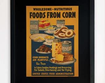 "LARGE 20""x16"" FRAMED Advertising Print, Black or White Frame/Mount, Foods from Corn"
