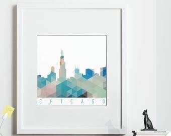 Geometric CHICAGO Print, *UNFRAMED* 2 sizes available, Modern Art Print